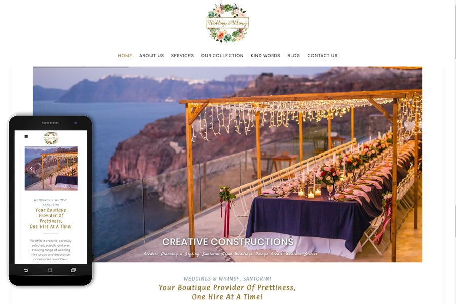 Weddings & Whimsy - Accessories, styling advice & designed props for weddings in Santorini